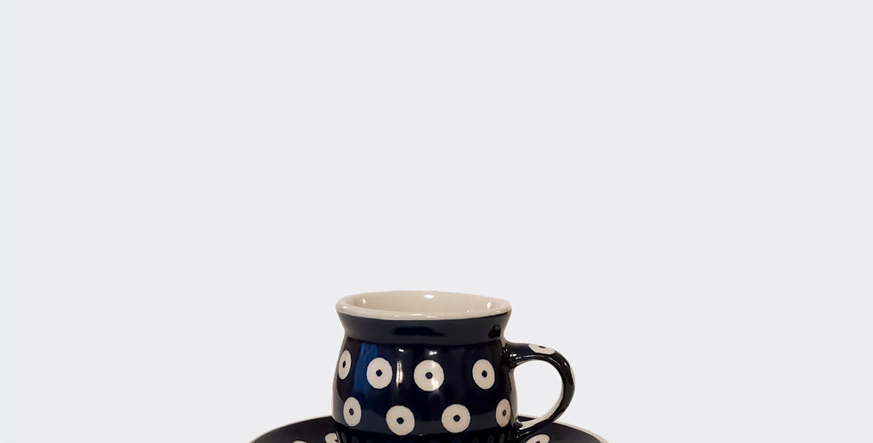 Polish Pottery Espresso Cup and Saucer