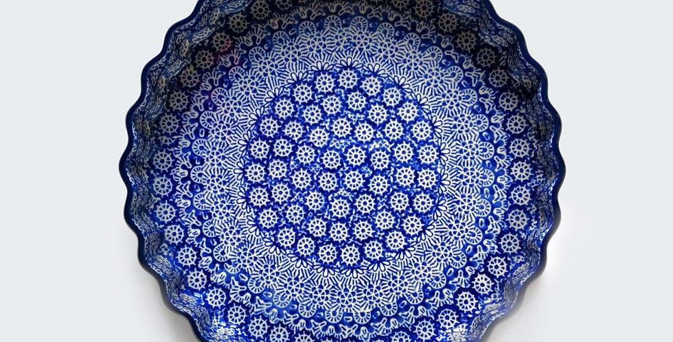 Quiche Dish in Blue Trellis