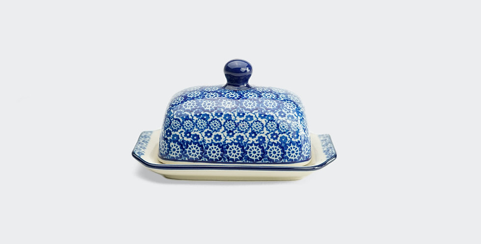 Half Pat Butter Dish in Lulworth Blue