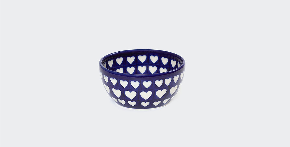 Polish Pottery Nibble Bowl in Blue and White Hearts