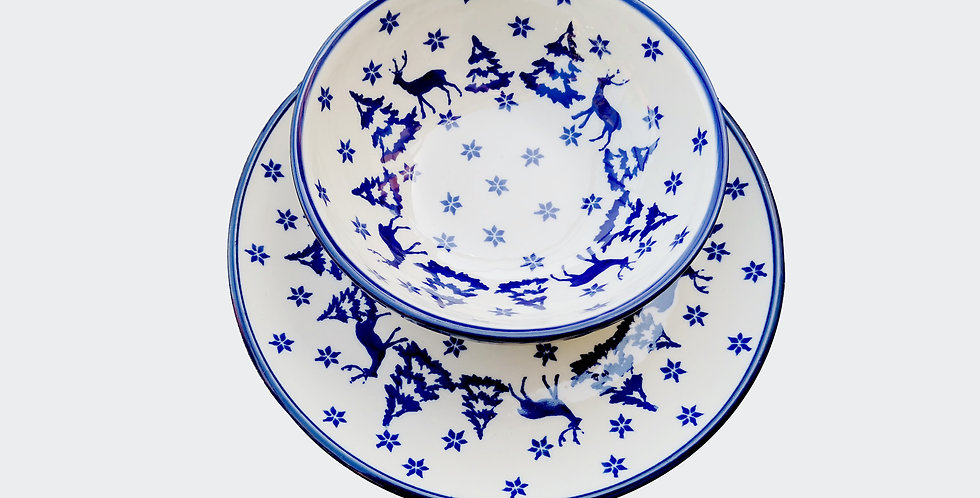 Christmas Breakfast Plate and Bowl Set