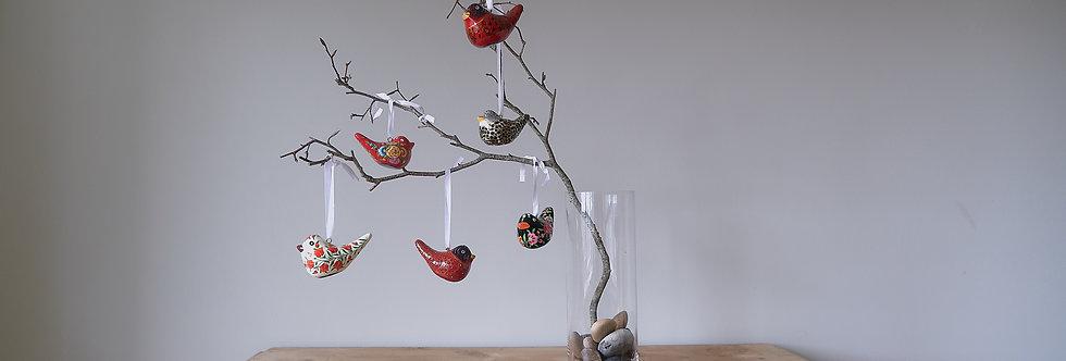 Six Fairtrade Christmas Birds