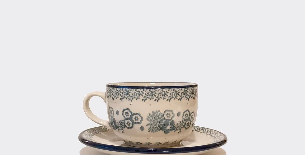 Polish Pottery Teacup and Saucer
