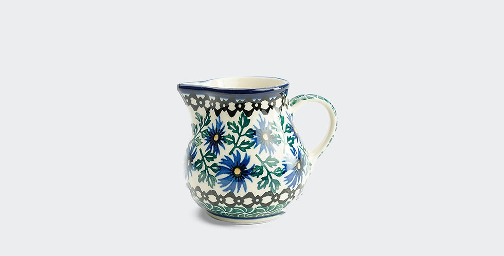 Small Polish Pottery Cream Jug in Traditional Pattern