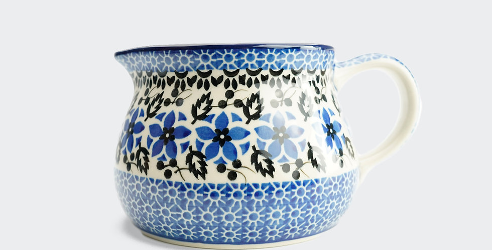 Large Country Kitchen Jug in Blue and White Polish Pottery