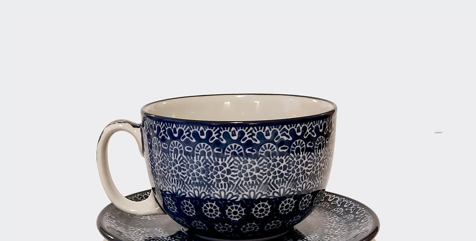 Extra Large Cup and Saucer, Blue and White