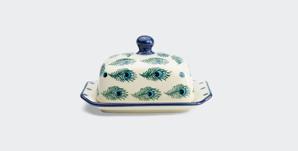 Half Pat Butter Dish in Peacock Feather
