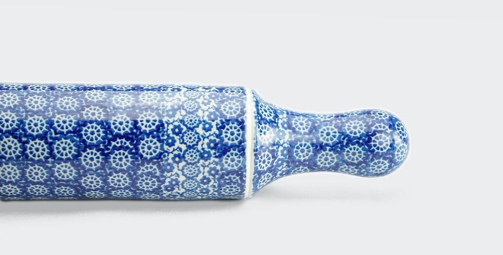 Ceramika Artystyczna Rolling Pin in Blue and White
