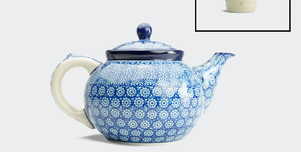 Large Teapot with Filter in Blue Trellis