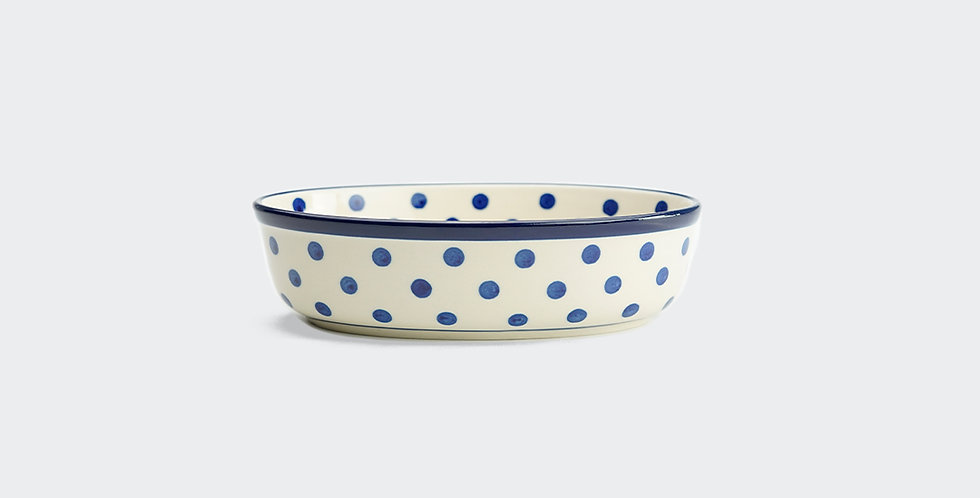 Mini Oval Baking Dish in White Spot