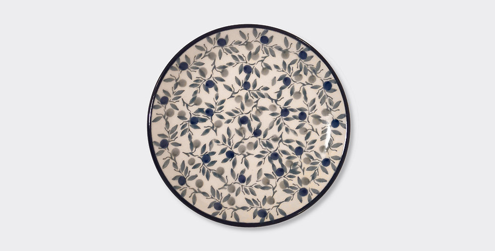 Grey and Blue Side Plate, Handpainted and patterned