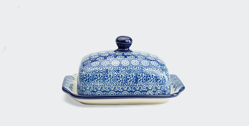 Butter Dish in Blue Trellis