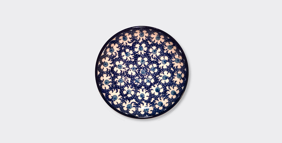 Small Stoneware Plate in Blue and White, made by hand