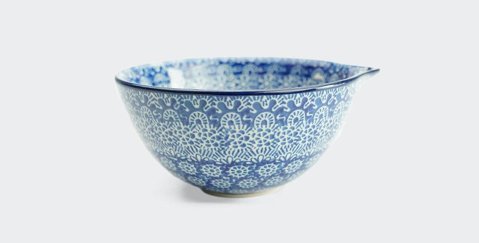 14cm Bowl w Spout in Blue Trellis