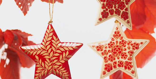 Star Christmas decorations. Red ethical decorations. Artisan Homeware, beautiful homewares.