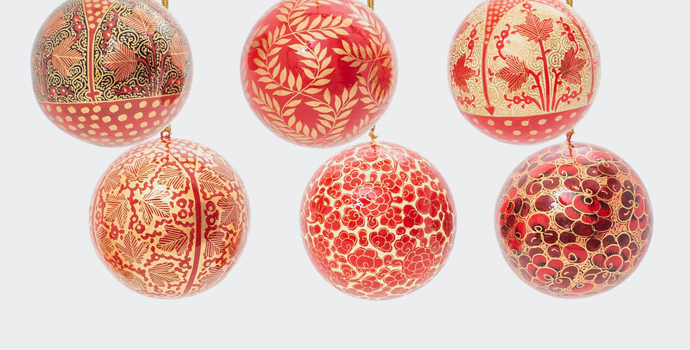 Six Medium Fairtrade Christmas Baubles in Red and Gold