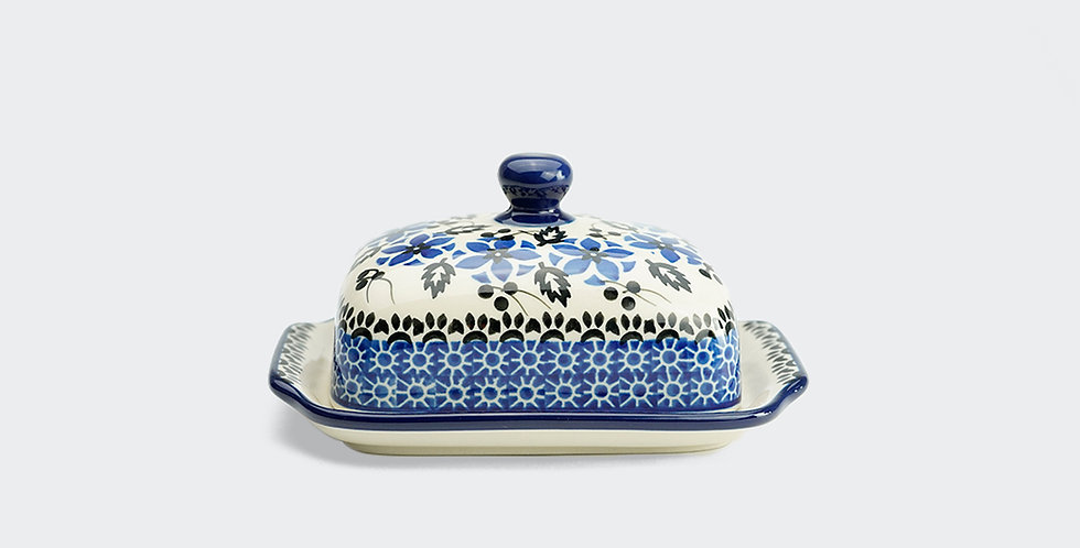 Blue and White Polish Pottery Butter Dish