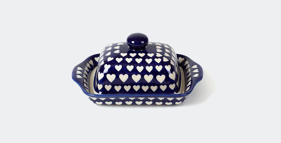 Polish Pottery Hearts Butter Dish by Ceramika Arkadia
