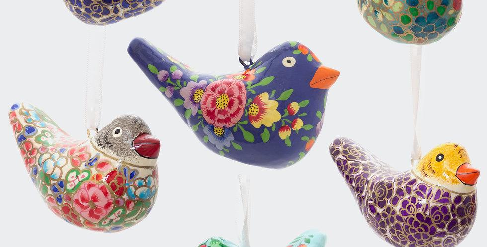 Six Fairtrade Colourful Birds