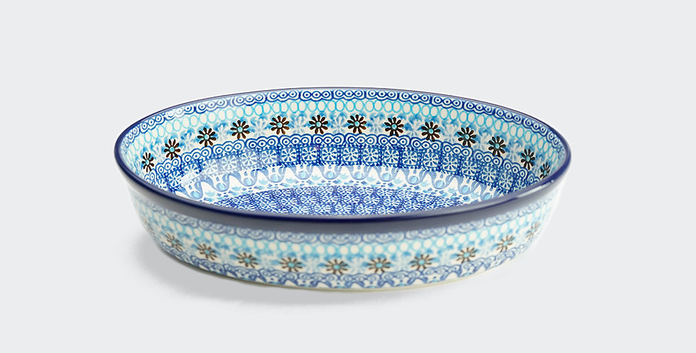 Small Oval Baking Dish in Marrakesh Blue