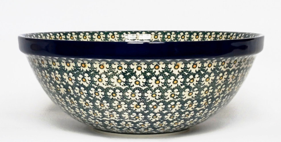 Large Serving Bowl in Green and Gold