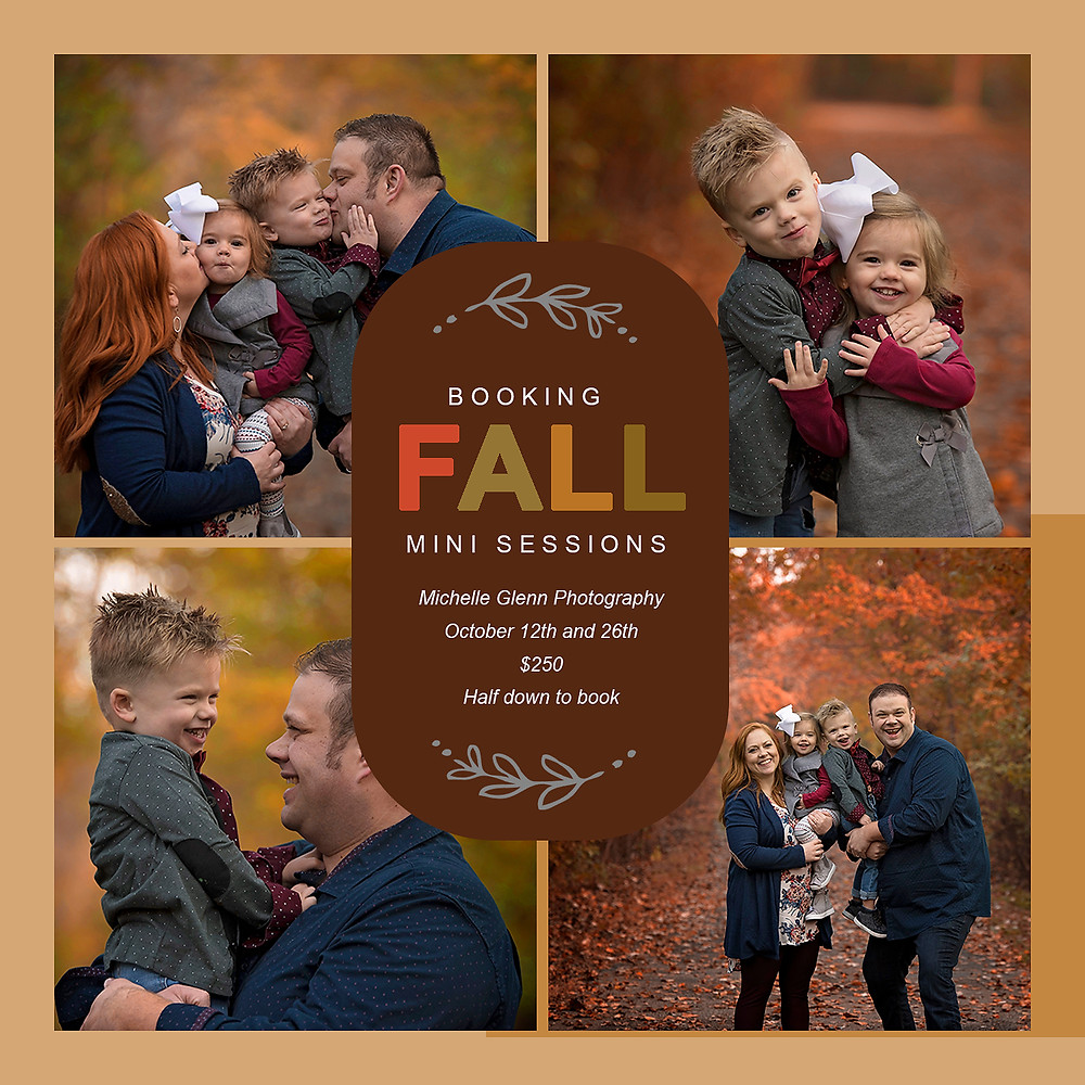 Mother, father, son and daughter posing for family photos during the Fall season.