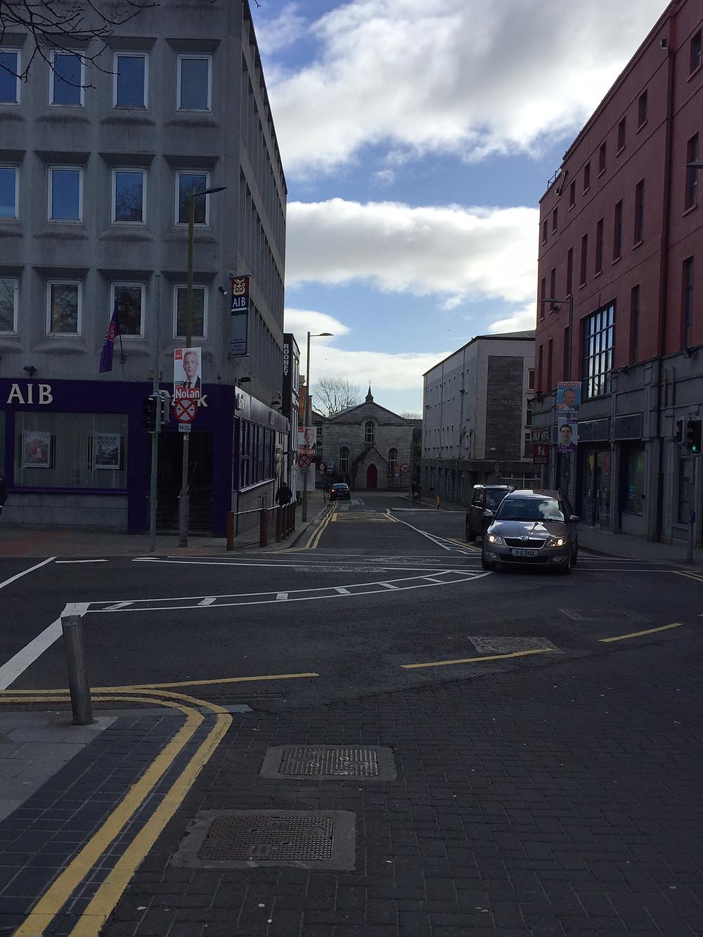 Exit this corner of Eyre Square (AIB Corner)