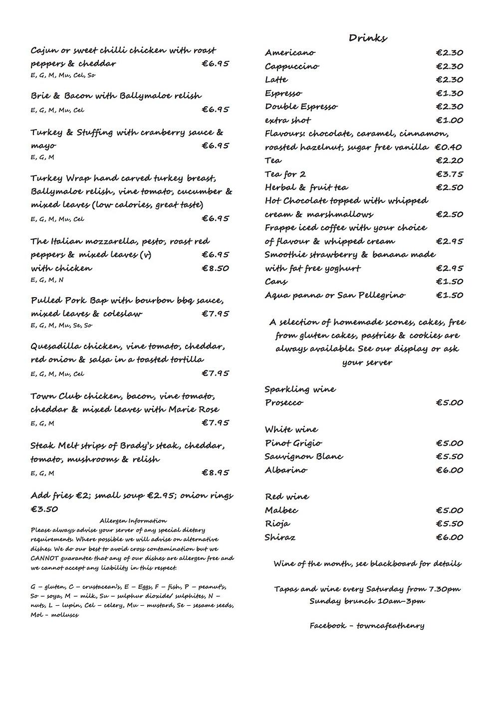 Town Cafe Menu - with Allergen Key
