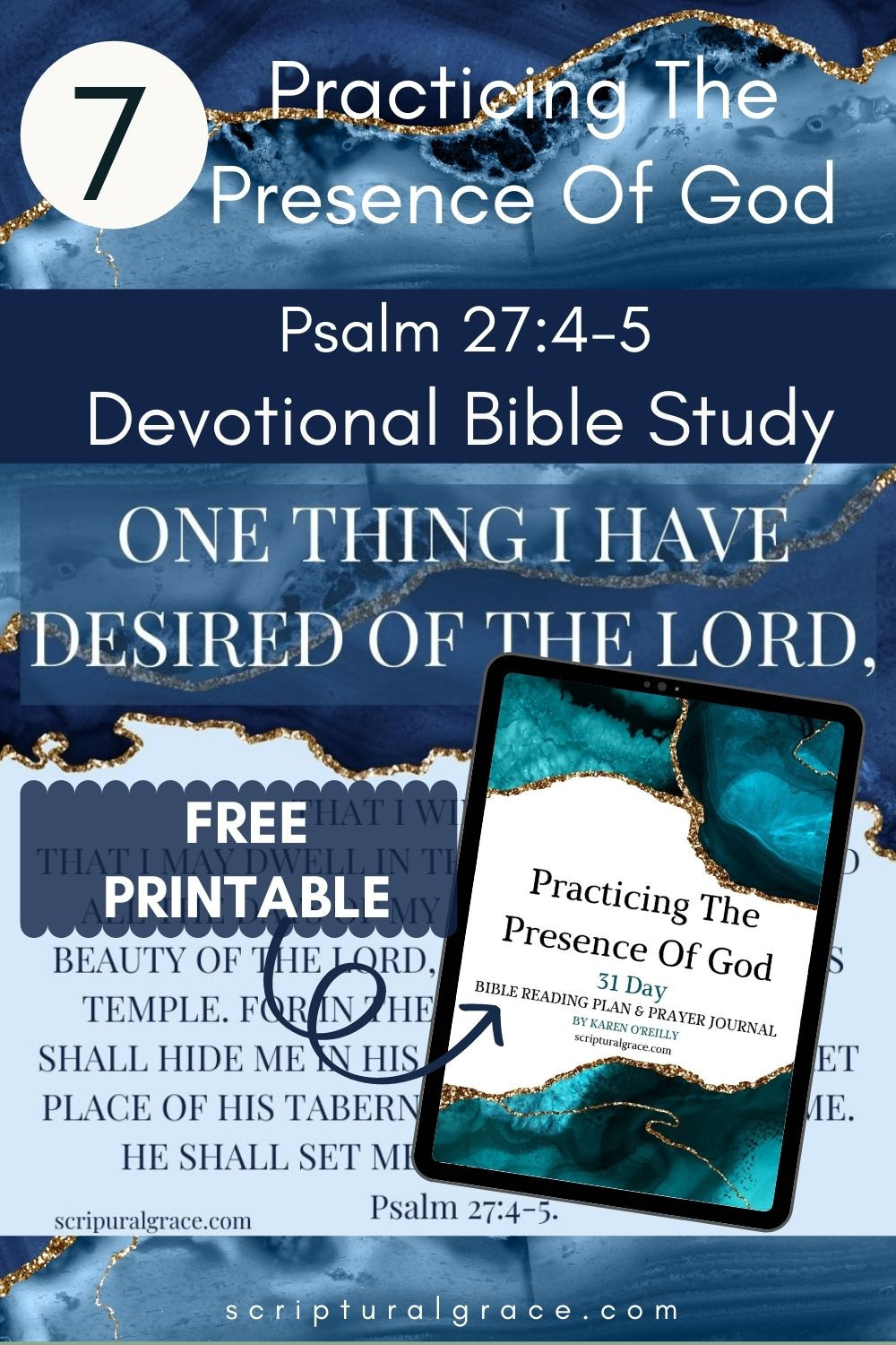 One thing I ask Psalm 27 4-5 free printable journal and 31 bible verses practicing the presence of God.