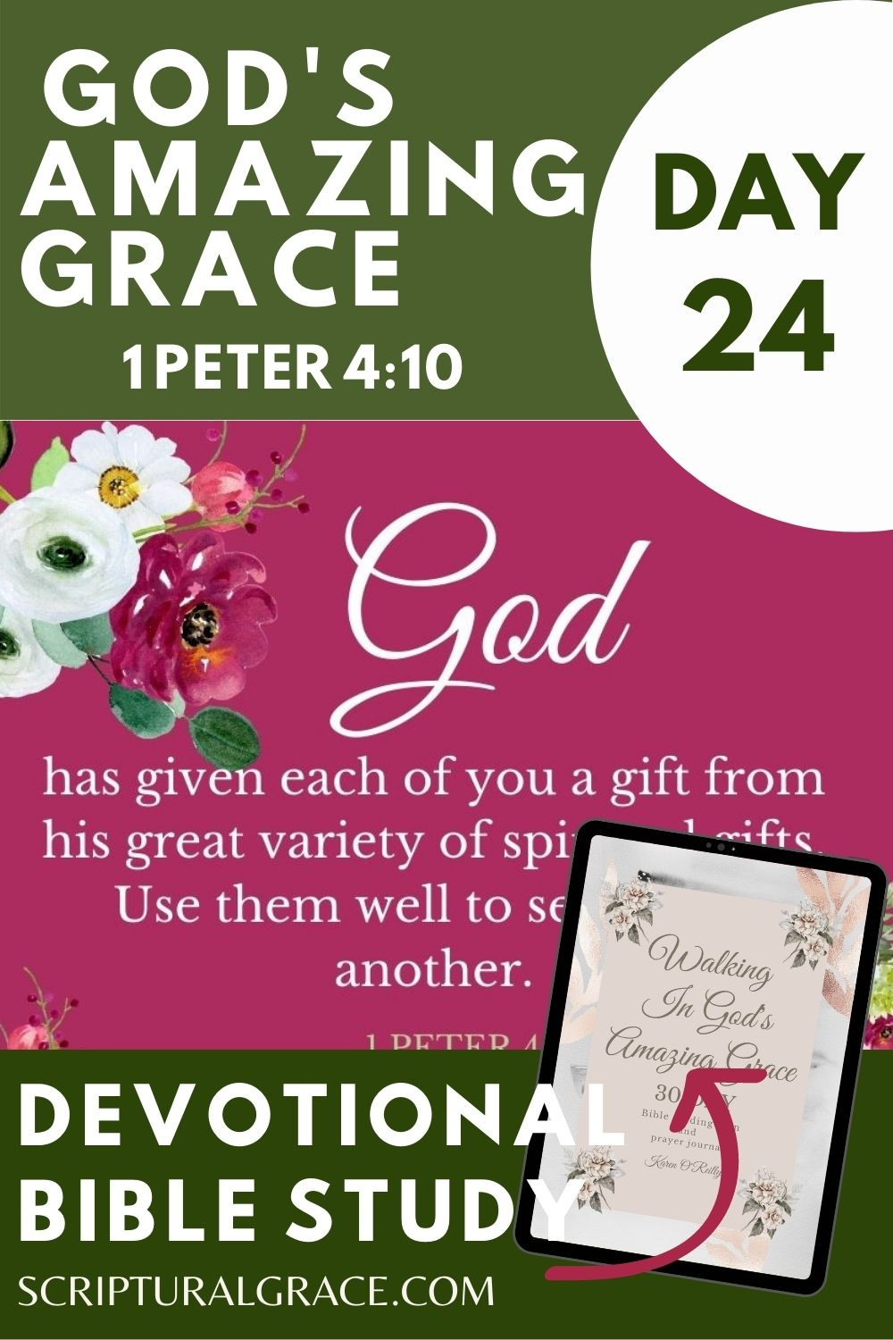 Use Your Gifts 1 Peter 4 10 devotional bible study and free prayer journal