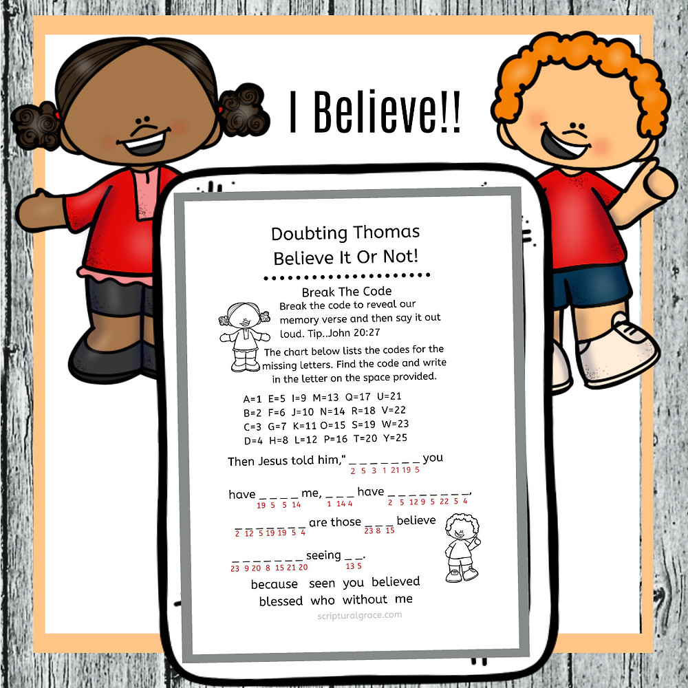Free crack the code printable for Doubting Thomas kids bible lesson.