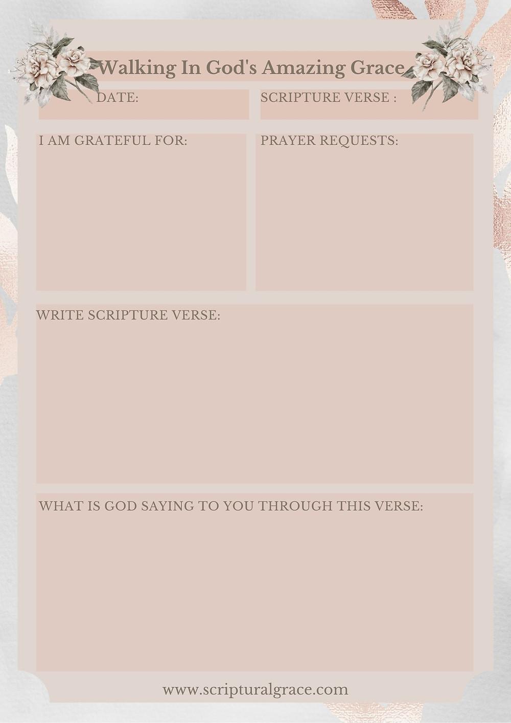 FREE PRINTABLE PRAYER JOURNAL ON GOD'S AMAZING GRACE.