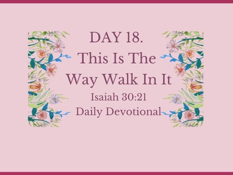 Devotional Bible Study: This Is The Way Walk In It | Isaiah 30:21.