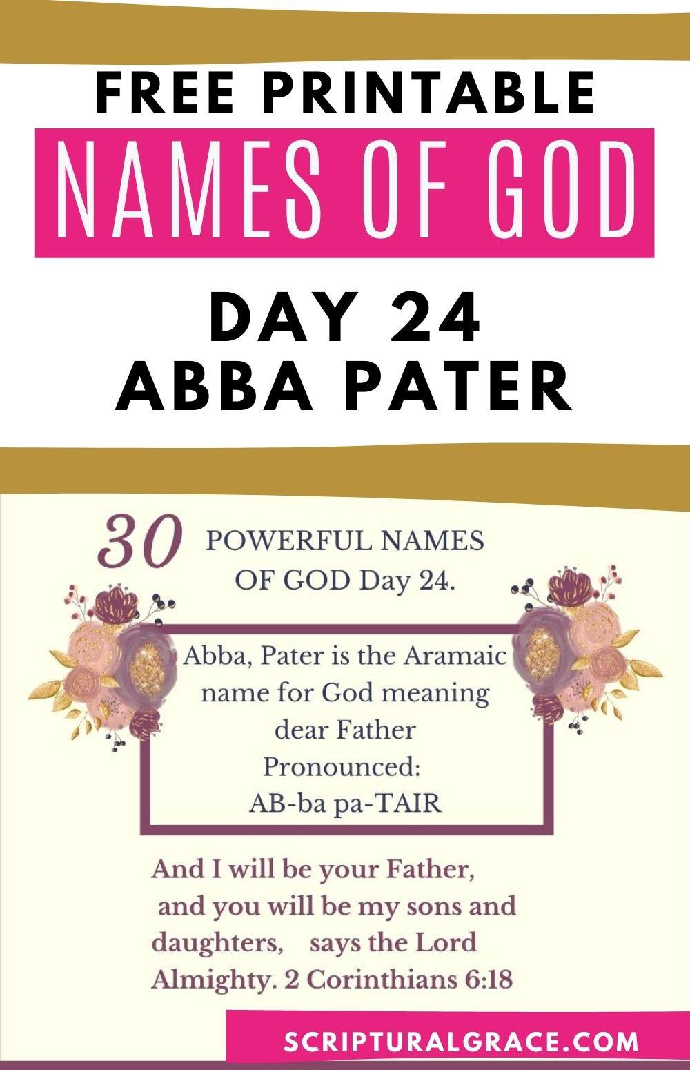 Abba names of God bible study and free printable