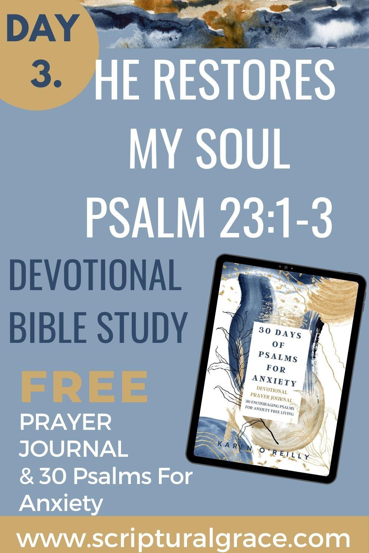 devotional bible study psalm 23:1-3 free printable