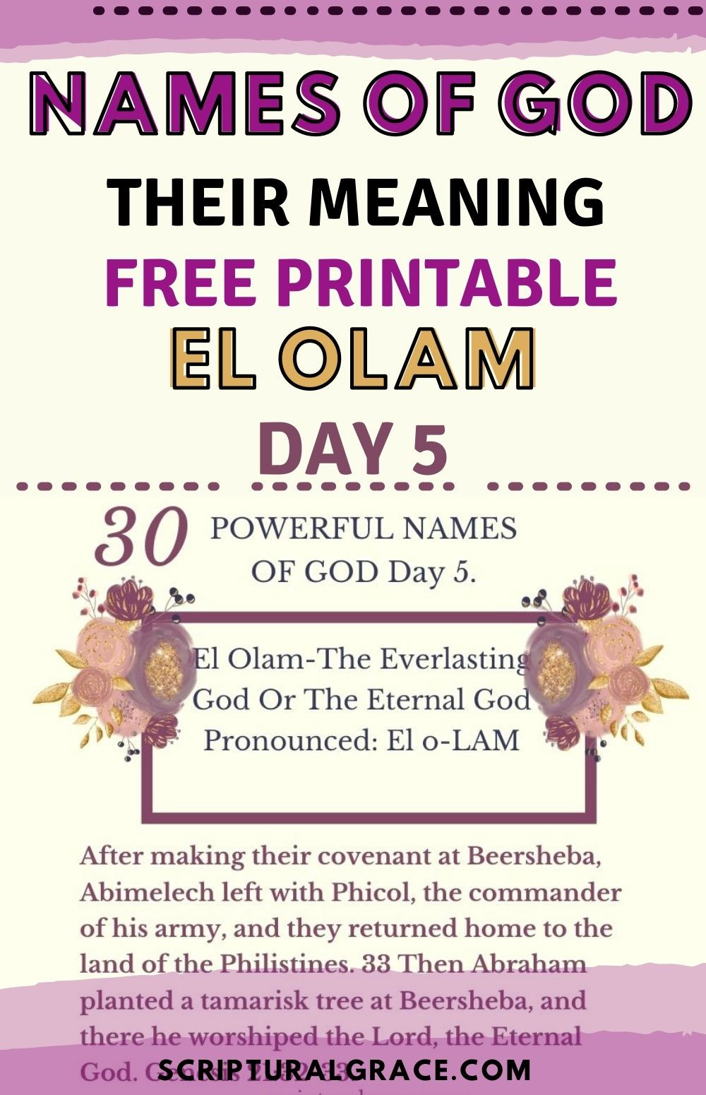 30 NAMES OF GOD AND THEIR MEANING DAY 5 FREE CHART