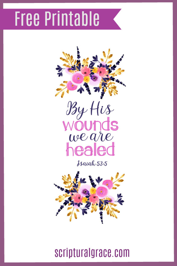 Free printable scripture art Isaiah 53:5