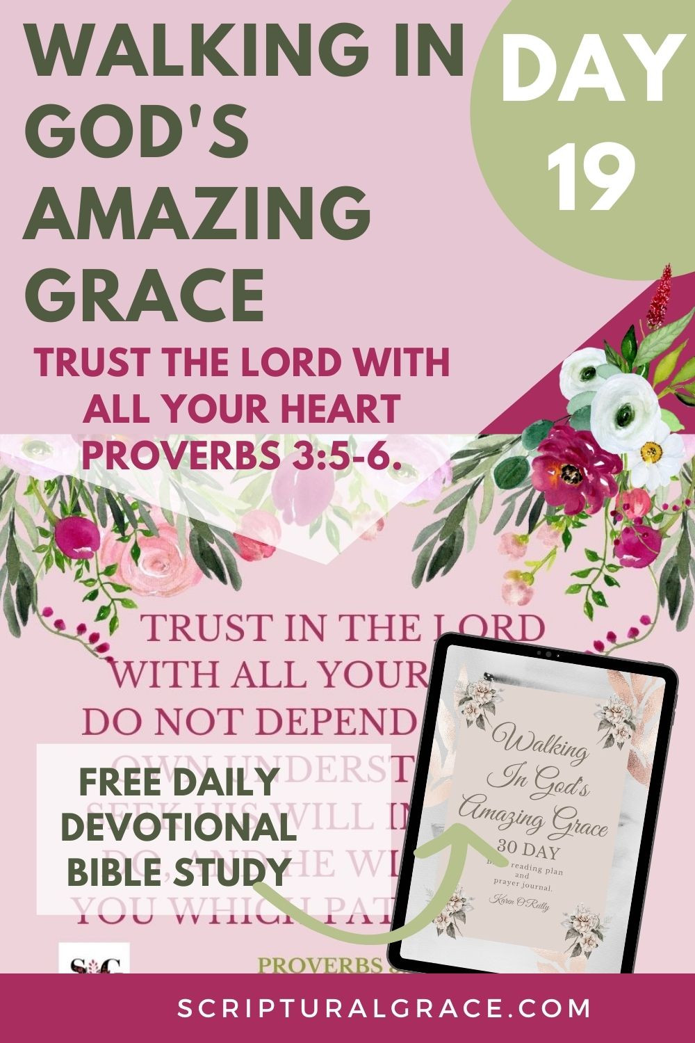 Day 19 Daily Devotional Trust In The Lord With All Your Heart Proverbs 3 5-6 FREE PRINTABLE