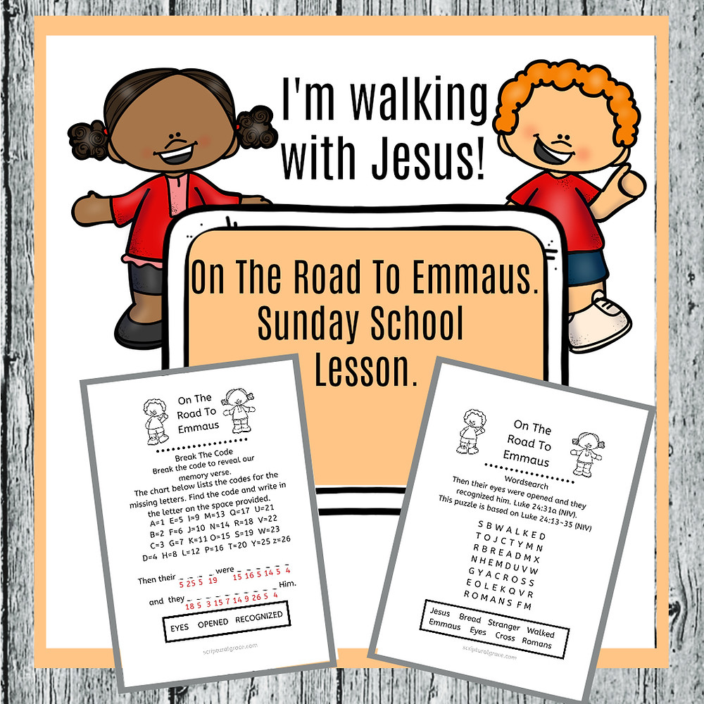 On the road to Emmaus Bibles lesson for kids with free printable.