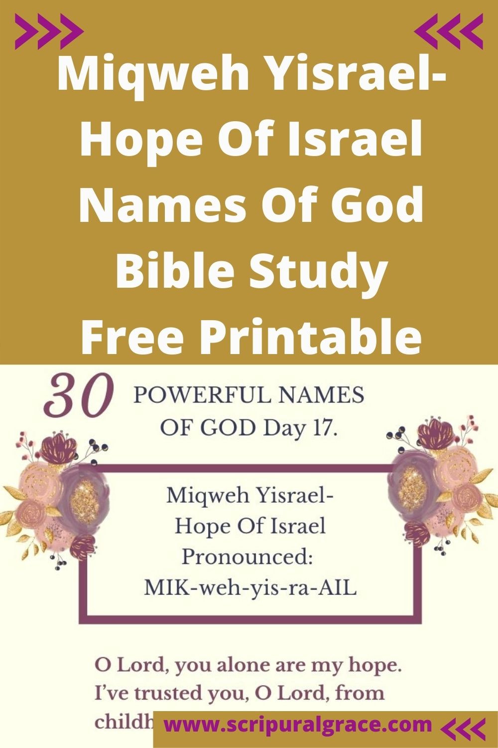 Miqweh Yisrael-Hop Of Israel names of God free printable and Bible study