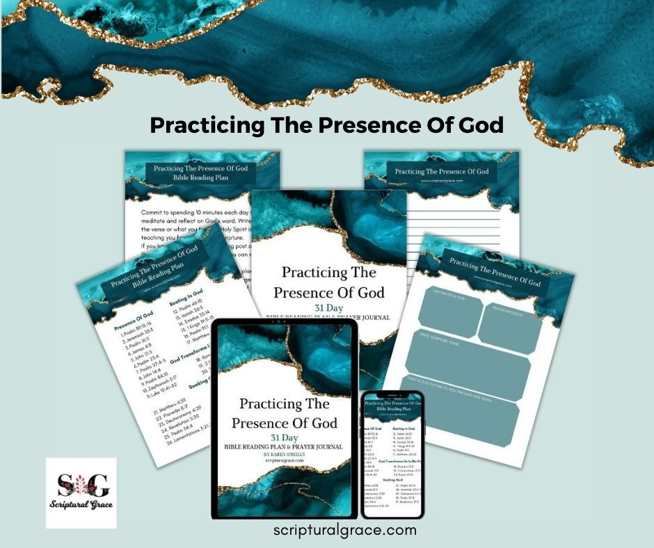 Free prayer journal and 31 bible verses on practicing the presence of God.
