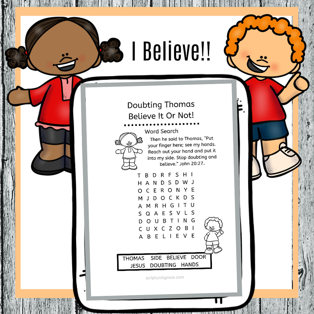 Free word search printable for Doubting Thomas kids bible lesson