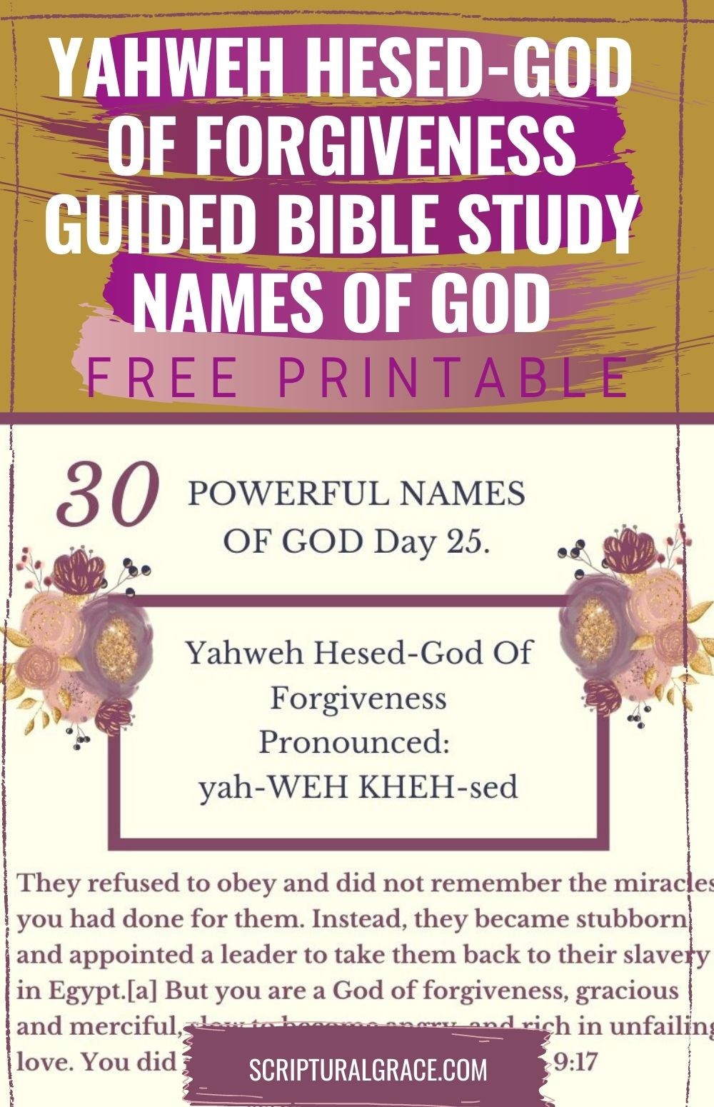 yAHWEH hASED NAMES OF GOD FREE PRINTABLE AND BIBLE STUDY