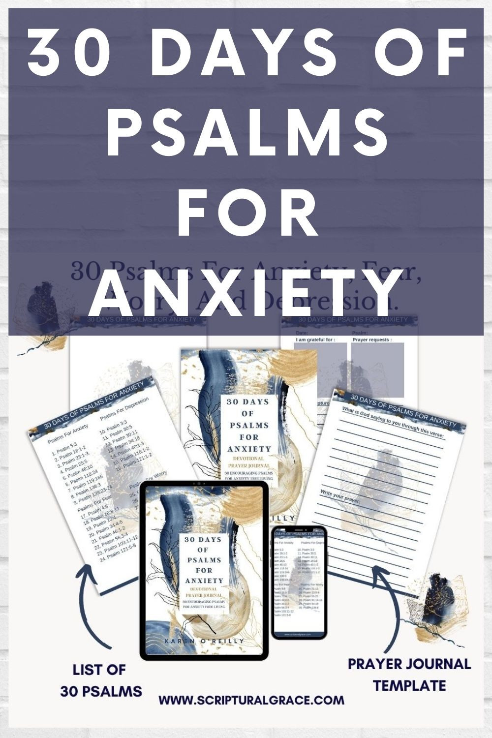 30 DAYS OF PSALMS FOR ANXIETY FREE PRINTABLE BIBLE PLAN AND PRAYER JOURNAL
