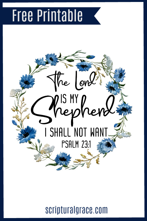 Psalm 23:1 poster ,blue floral watercolor free printable