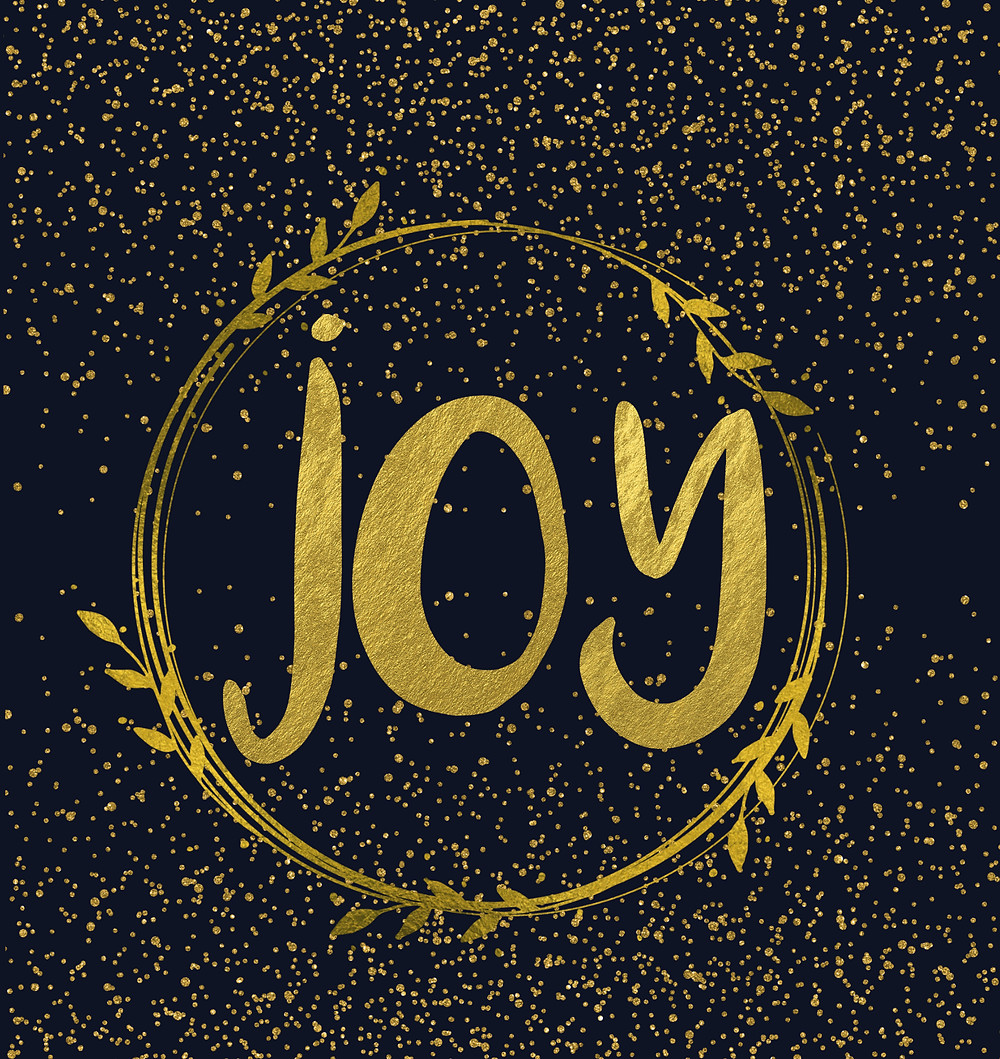 joy in gold letters, surrounded by a gold wreath poster free