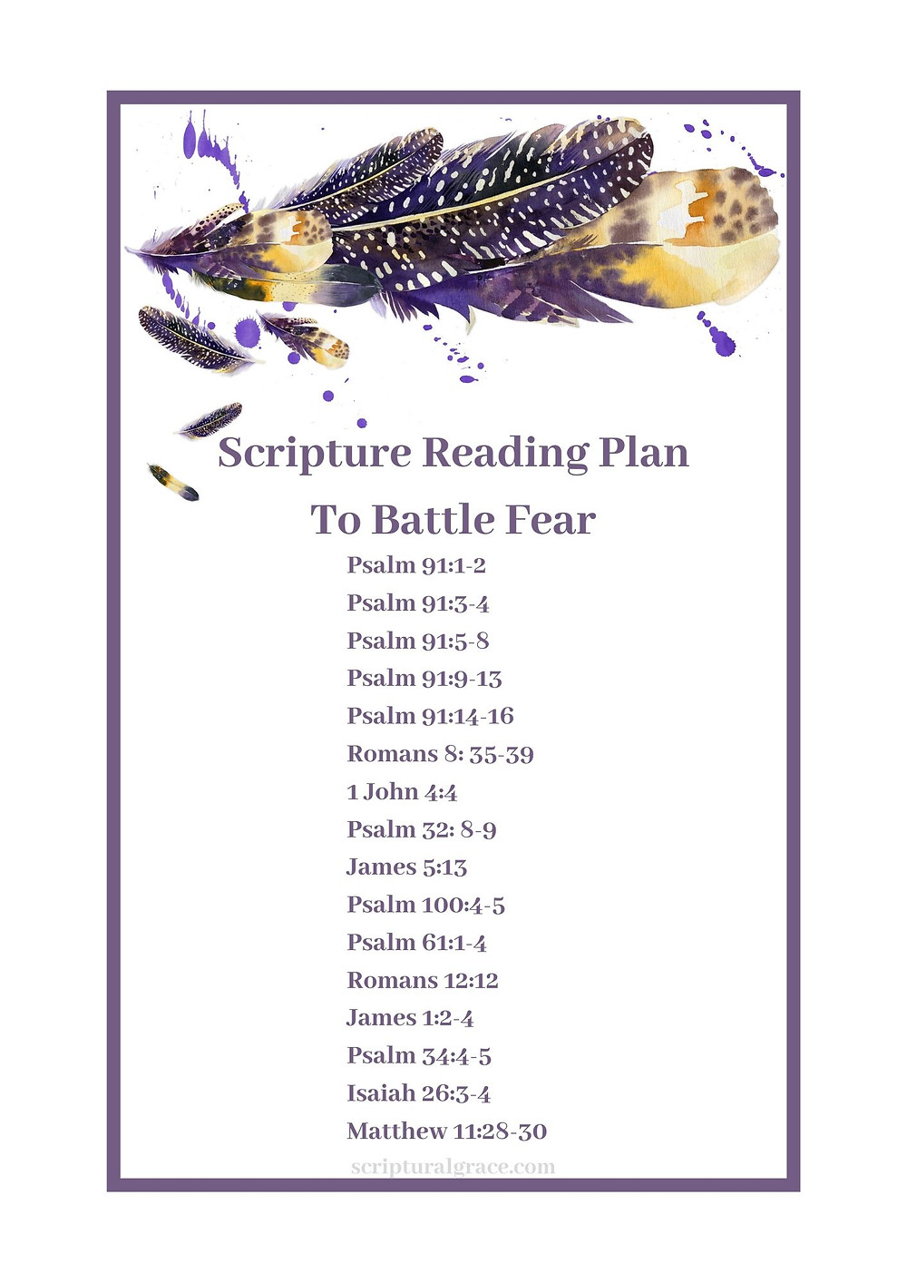 Free scripture printable on a battle plan over fear