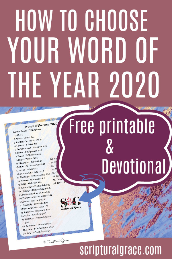 How To Choose Your Word Of The Year 2020 with free printable and devotional