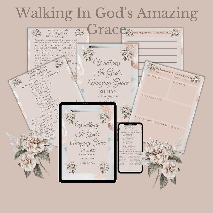 30 Bible verses on God's amazing grace and free printable prayer and gratitude journal.