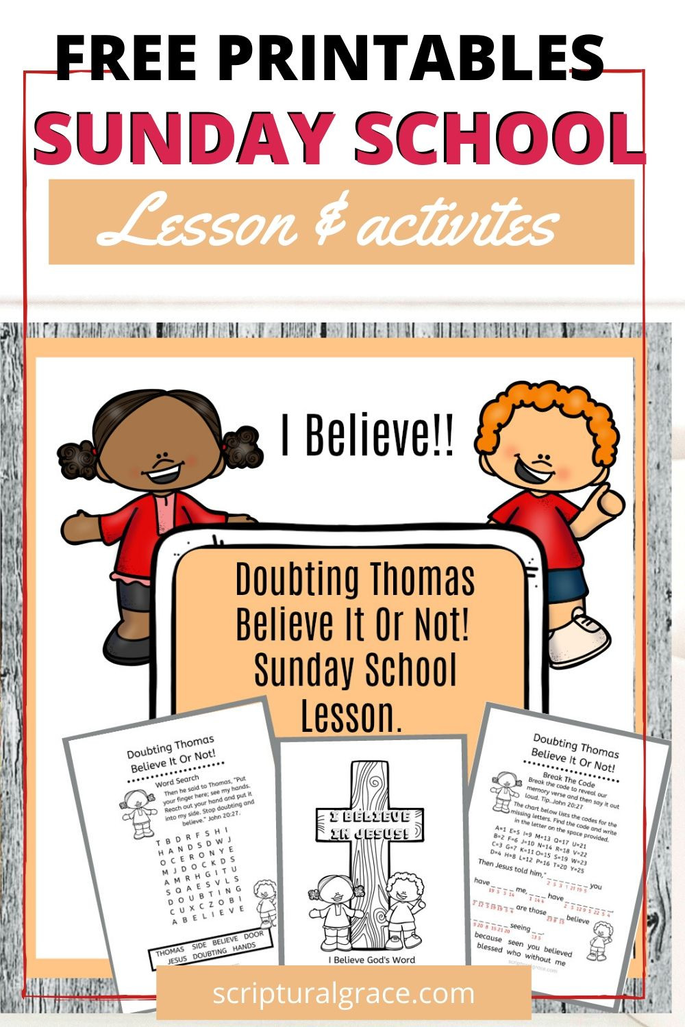 Free printables for Doubting Thomas kids lesson, word search, color-in page and break the code memory verse.